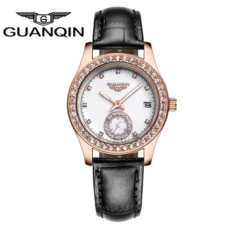 Top Brand GUANQIN Women Watches Female Fashion Waterproof Quartz Watch With Leather Strap And Rhinestone Dial relogio feminino цена