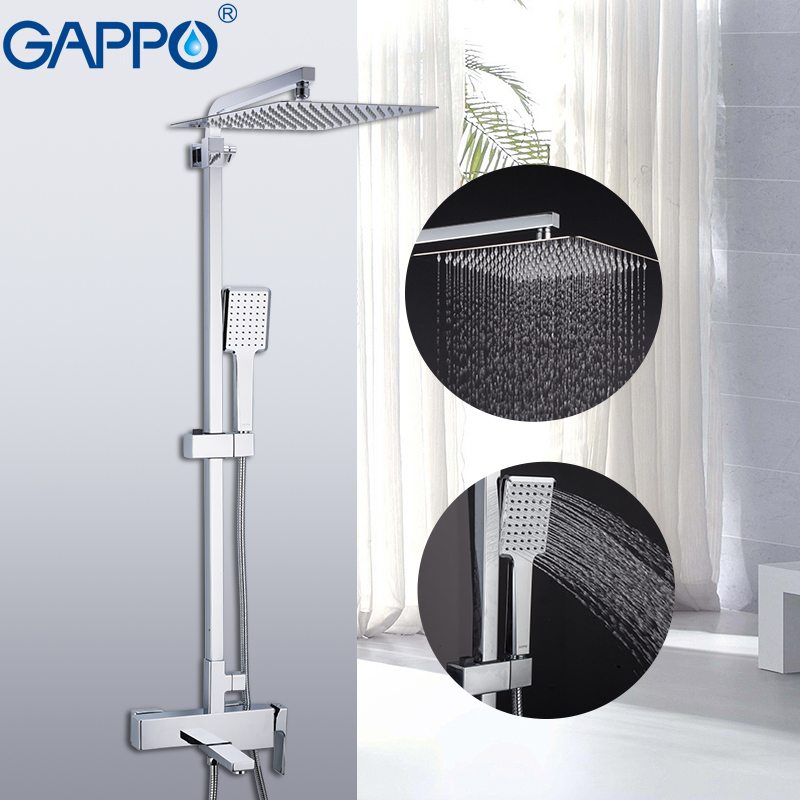 GAPPO Sanitary Ware Suite brass massage shower set bathroom rainfall mixer shower wall mounted torneira do anheiro faucets