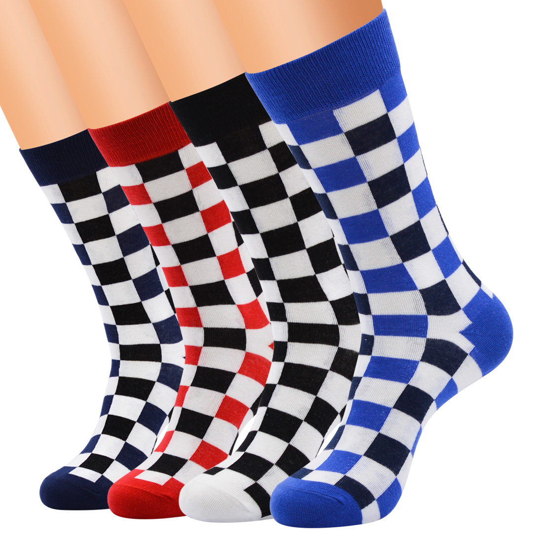 Wholesale 60 Pairs Korea Fashion Harajuku Trends Male Checkerboard Socks Style Geometric Checkered Socks Men Hip Hop Cotton Soks