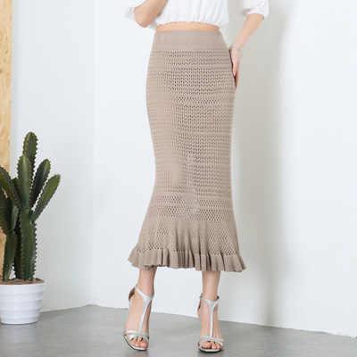 2019 נשים סרוג בת ים חצאית סתיו חורף משרד ליידי גבוהה מותן ארוך Midi חצאית נקבה מקסי Bodycon חצאית