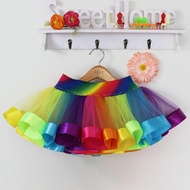 Rainbow Skirt Children Clothing Toddler Birthday Tutu Skirt Summer Cheap Tulle Skirt