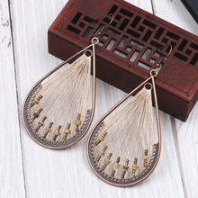 Women Bohemian Hand-woven Around Gold Thread Water Drops Round Wooden Beads Hollow Long Dangle Earrings