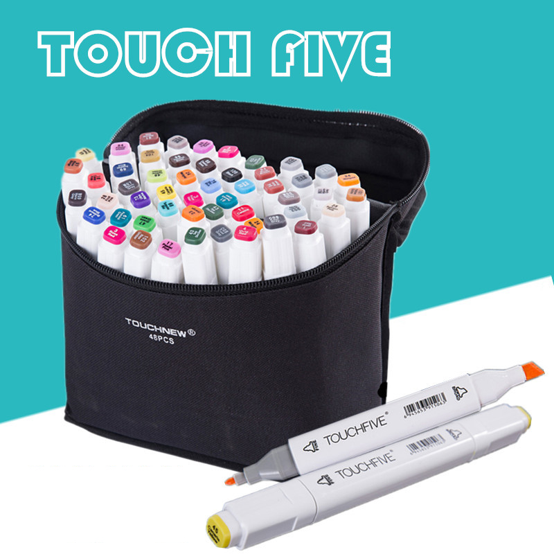 TouchFive Marker 30/40/60/80 ColorAlcoholic oily based ink Art Marker Set Best For Artist Manga cohol Marker Brush supplies touchnew 60 colors artist dual head sketch markers for manga marker school drawing marker pen design supplies 5type