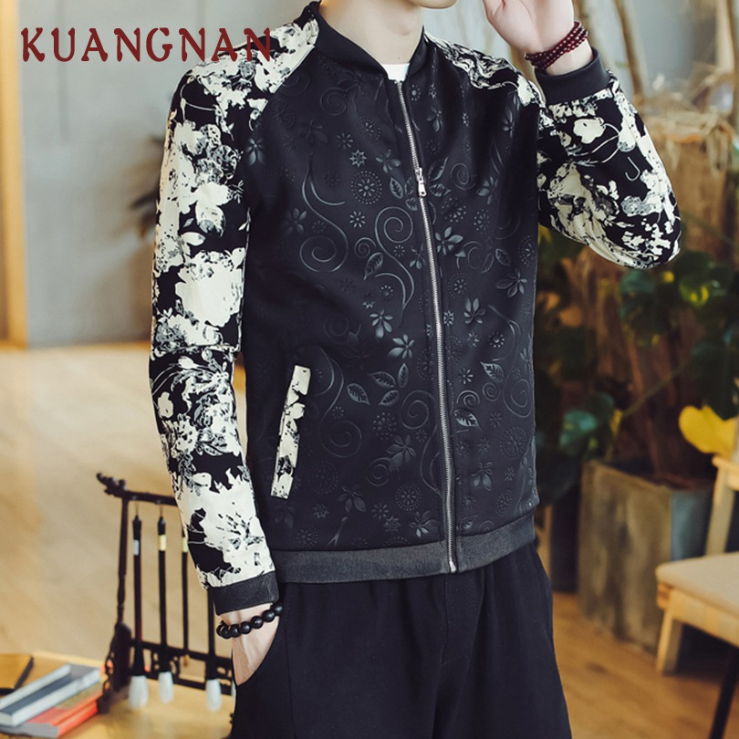 5f744364e US $24.99 40% OFF|KUANGNAN Chinese Style Floral Patchwork Jacket Men Hip  Hop Bomber Jacket Men Japanese Streetwear Mens Jackets Coats 2018 Autumn-in  ...