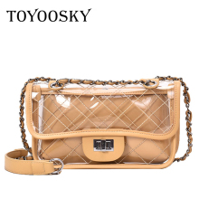 TOYOOSKY Women Summer Crossbody Bag PVC Transparent Composite Bags Set with Purse Waterproof Quilted Plaid Beach Handbags Female
