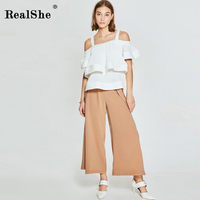 RealShe 2018 Hot Summer New Women T Shirt Women Chiffon Ruffles Elegant Tops Cold Shoulder Sleeveless Fashion Korean Clothing