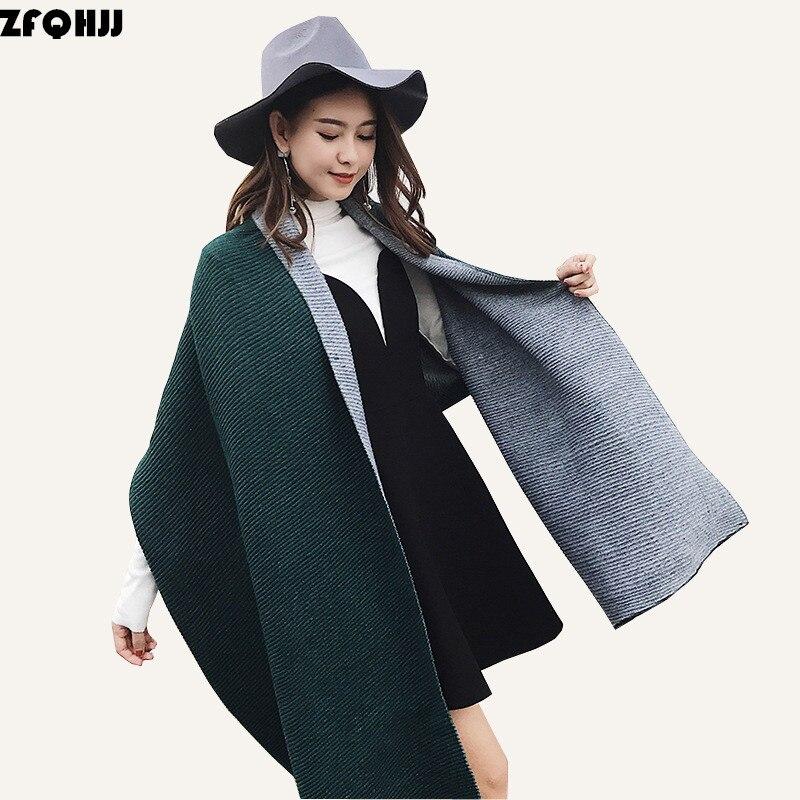 ZFQHJJ Women Winter <font><b>Scarf</b></font> Cashmere Pashmina Wrinkle Crinkle Plain Double Side Double Color Women