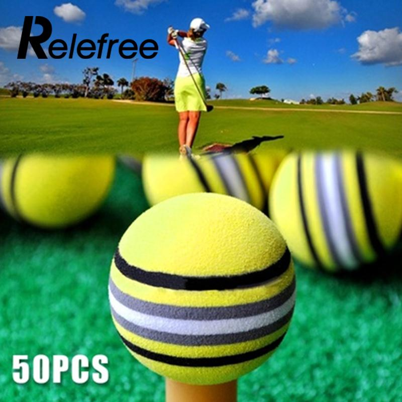 50Pcs Pro v1 Bright Yellow Golf Rainbow Sponge Ball Training Practice Xmas Gift