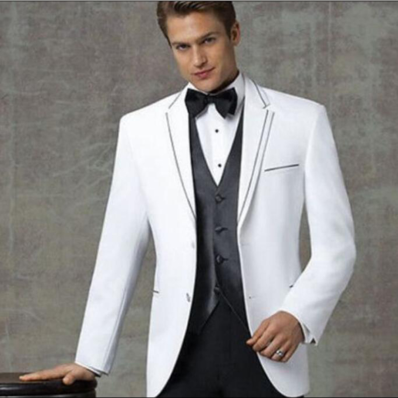 71383b7d3df2 2019 Two Buttons Black White Groom Tuxedos Notch Lapel Best Man Groomsmen  Prom Suits Grey Business (Jacket+Pants+Vest+Bow tie)-in Suits from Men's  Clothing ...