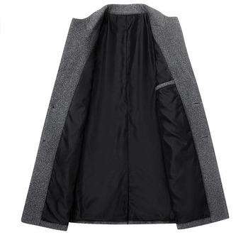 Drop wysyłka zima wełna kurtka mężczyźni wysokiej jakości wełna płaszcz casual Slim kołnierz wełna płaszcz męskie długie bawełniane kołnierzyk płaszcz