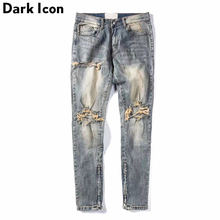DARK ICON Ripped Side Zipper Jeans Men 2019 New Stonewashed Destroyed Mens