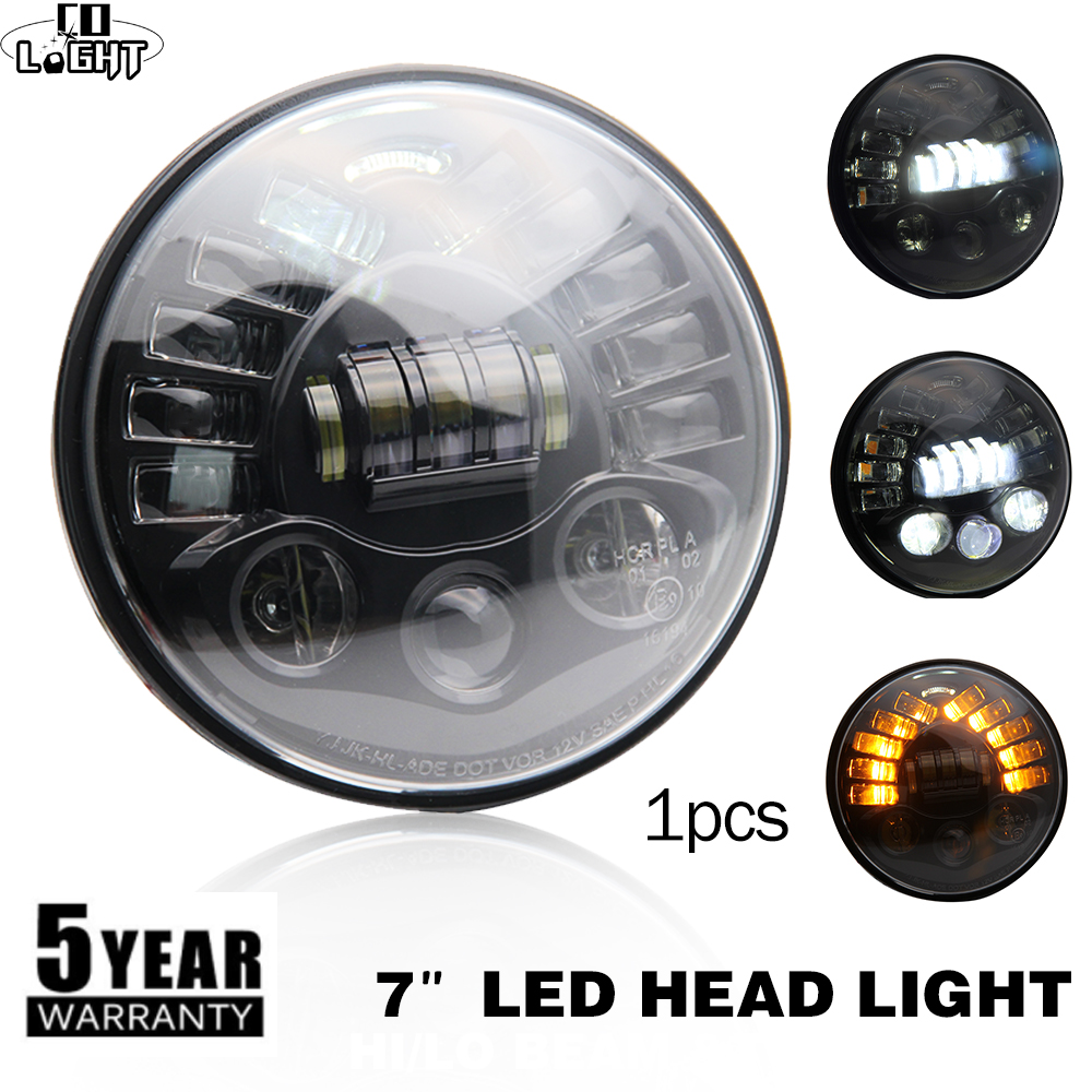 CO LIGHT 7inch Motorcycle Headlight 40W 70W Hi-Lo Beam H4 Round 7 Inch Car Headlights for Off Road Jeep Wrangler Lada Bike Motor