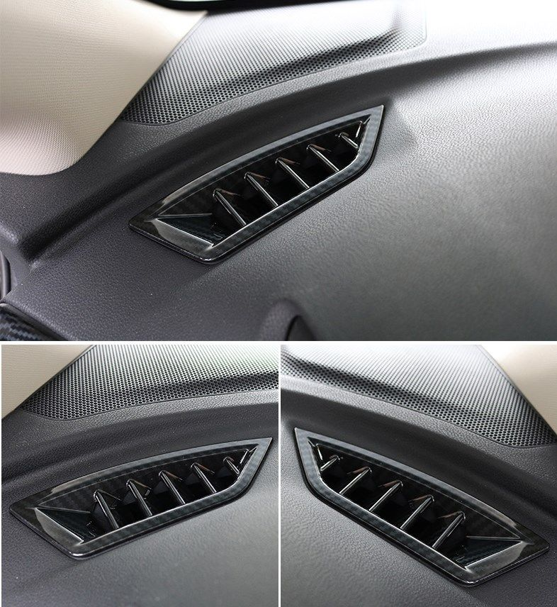 2pc Carbon Fiber Colors Car Interior Upper Air Vent Outlet Cover Trim Decal Frame Fit For Subaru XV 2018 Car Styling Accessories