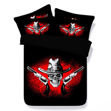 bed linens 3d skull gun cowboy printed duvet cover cool boy black bedding sets twin queen king size kid bed cover halloween gift