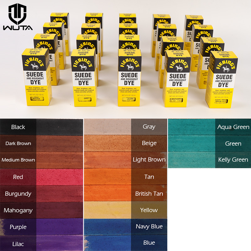 American Import Suede Fur Dye & Roughout Leather Dye Shoe DIY Coloring Agent Dyestuff Pigments 118ml 19 Color Available Sewing