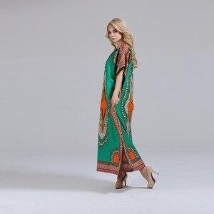 Image 5 - Dashikiage Nieuwe Mode Vrouwen Dashiki Jurk 100% Katoen Afrikaanse Print Maxi Vestidos Robe Africaine Femme Dashiki Jurk