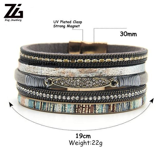 ZG Rhinestone Bar Charm Bohemian Leather Bracelet 1