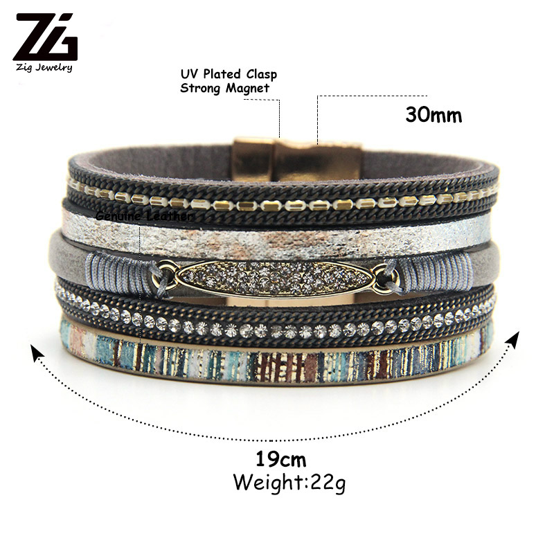 ZG Fashion Women Leather Bracelet Rhinestone Bar Charm Bohemian Leather Female Bracelets in 7 Colors 1