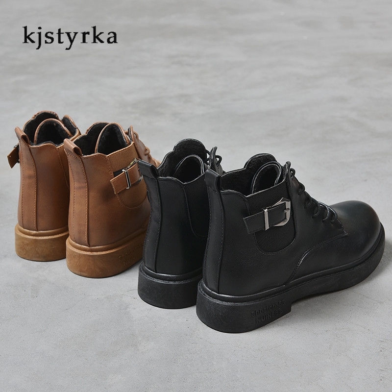 Kjstyrka round toe 2019 cotton fashion casual belt buckle patent leather martin boots female anti-slip ankle boots for women 6