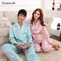 Couple Pajamas Women Long Sleeve Love Sleep Silk Satin Pajamas Lapel Cardigan Lounge Men And Women Pajama Set