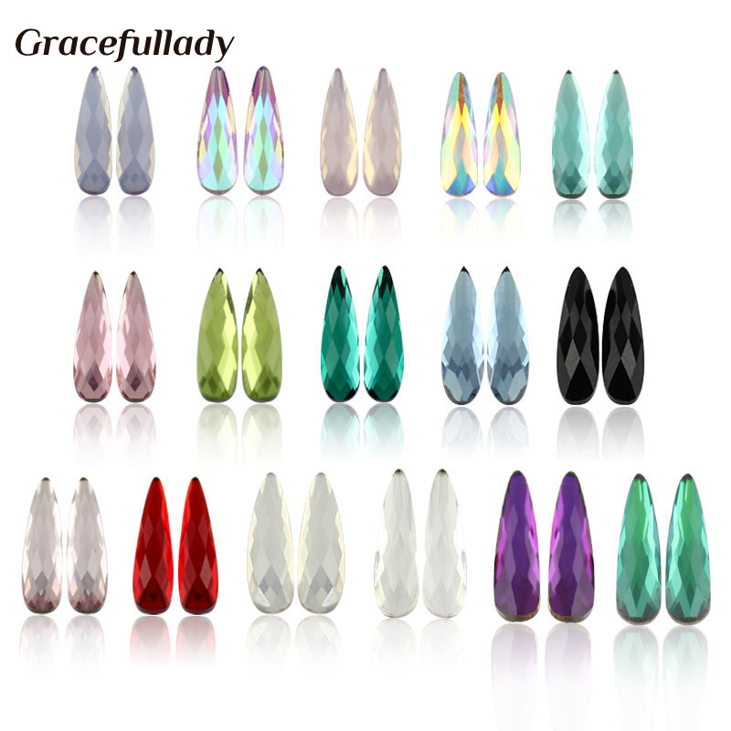 Nail Art Rhinestones 20Pcs / Pack Flatformer Elongated Teardrop Rectangle Glass Flame Colorful Stones For 3D Nails Decoration