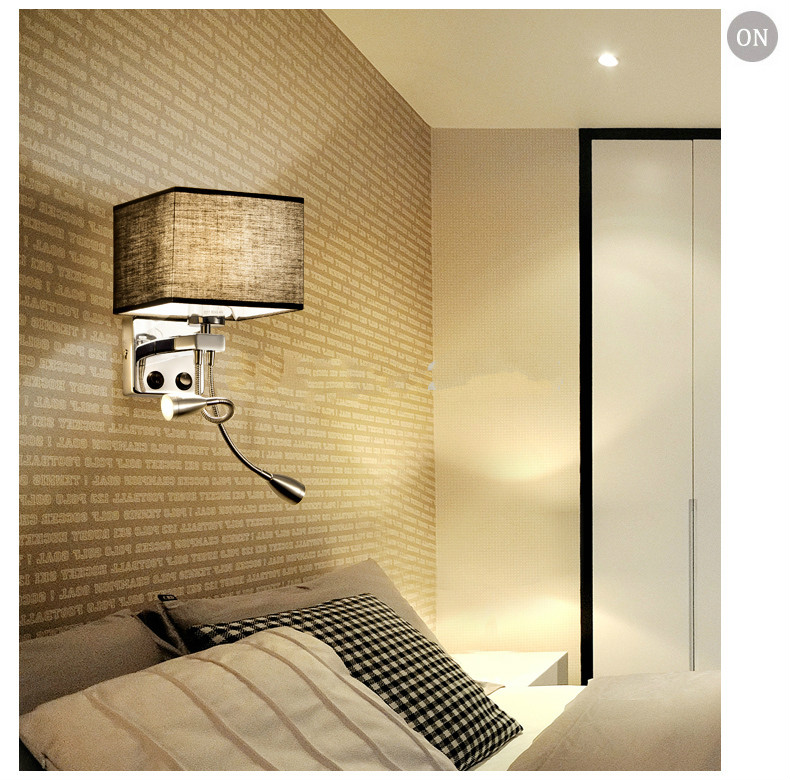 New Flexible Hose LED Wall Lamps 2w Silver with sackcloth white/black/beige lamp shade Bedside Reading Light Study Wall Lighting wordperfect® for windowstm