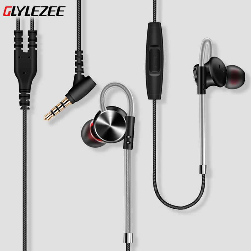 Original Glylezee Magnetic Wired Earphone 3.5mm In Ear Hifi Stereo Headset with Microphone for Mobile Phone original senfer dt2 ie800 dynamic with 2ba hybrid drive in ear earphone ceramic hifi earphone earbuds with mmcx interface