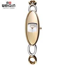 Garantía! WEIQIN Marca Relojes Mujer NUEVA Moda Oro Hueco Reloj Pulsera Señoras de Qaurtz reloj Resistente Al Agua relogio feminino