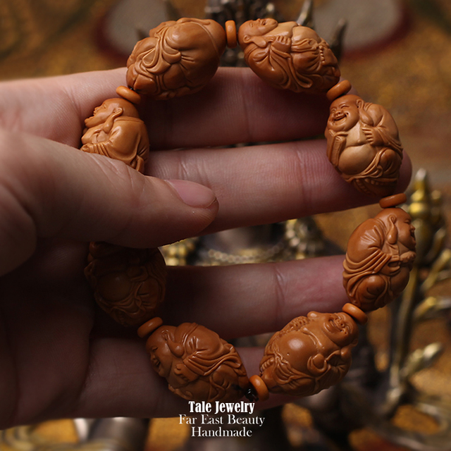 Wholesale Olive Nut Seed Carved 8 Buddhas Beads Bracelet Artisan Handcrafted Collectible Hediao Chinese Miniature Nut Jewelry