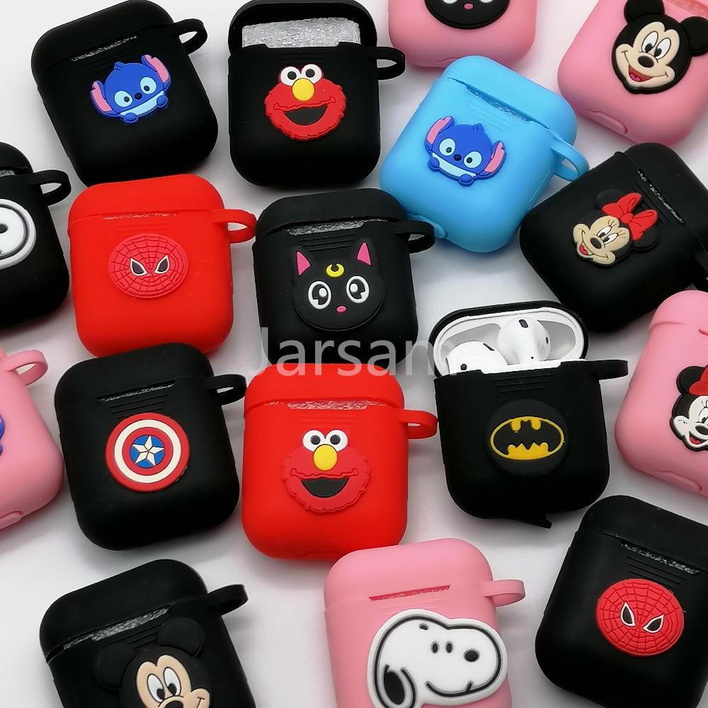 Cute Cartoon Bluetooth Wireless Earphone Case For Apple AirPods 2 Silicone Charging Headphones Case For Airpods Protective Cover