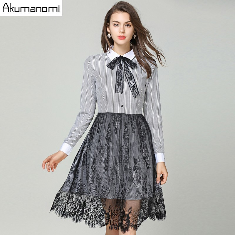 Autumn Striped Lace Patchwork Dress Women Clothing Bow Turn down Full Sleeve Tassel Wave Hem Spring