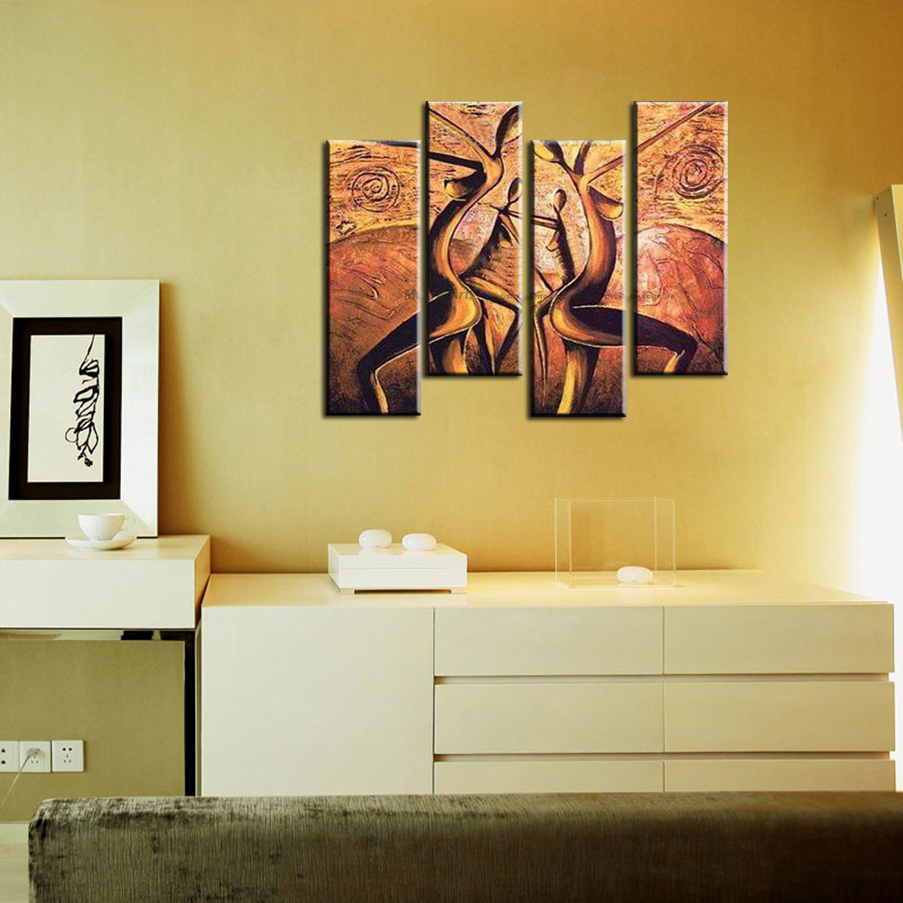 4 panel canvas art Modern abstract wall decor painting canvas ...