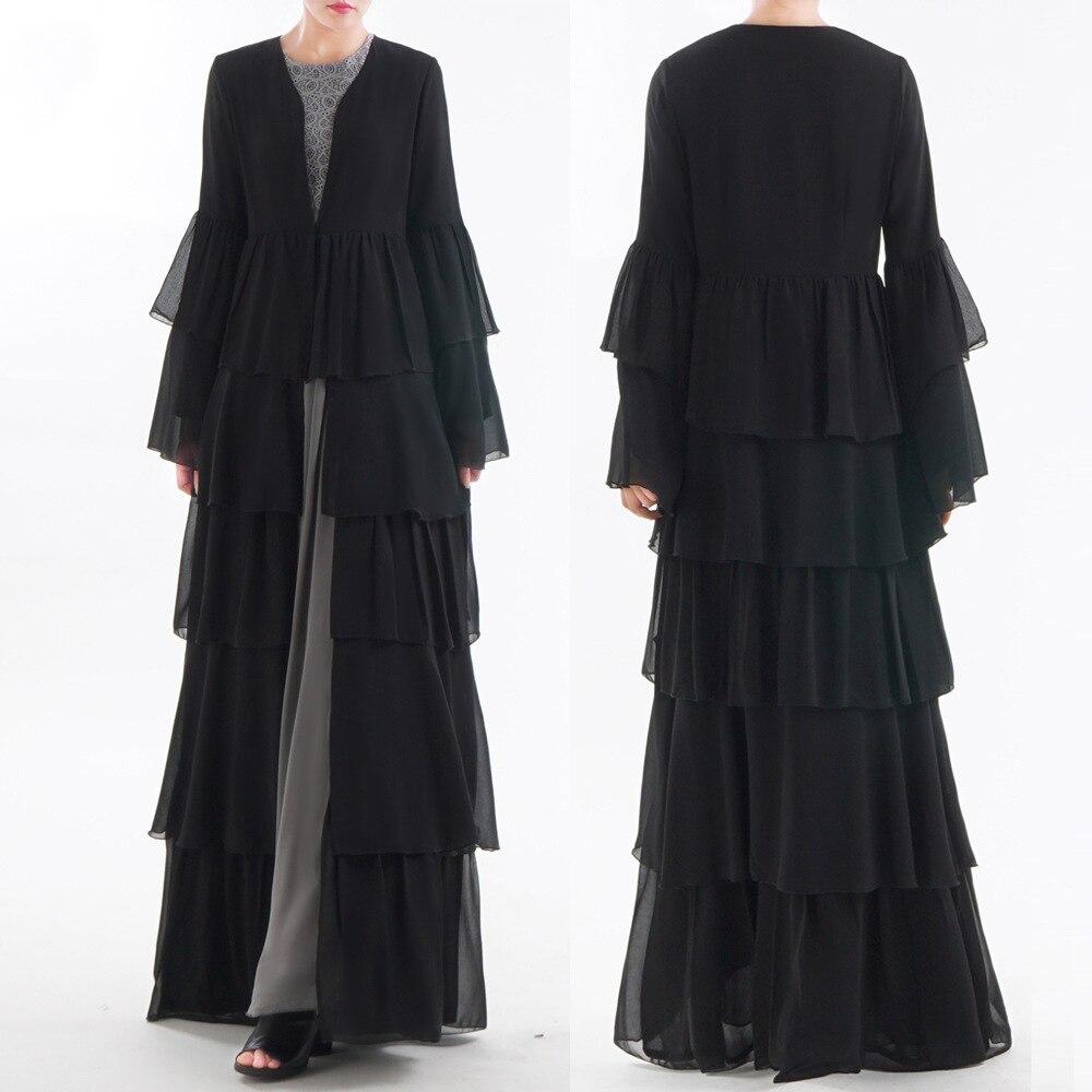 EAU Abaya Dubaï Kaftan Malaisie À Volants Plissée En Mousseline de Soie Kimono Cardigan Musulman Hijab Robe Femmes Dubaï Turc Islamique Vêtements
