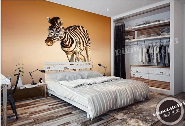 Customize 3d Wallpaper Murals Desert Running Wild Zebra Photo 3d