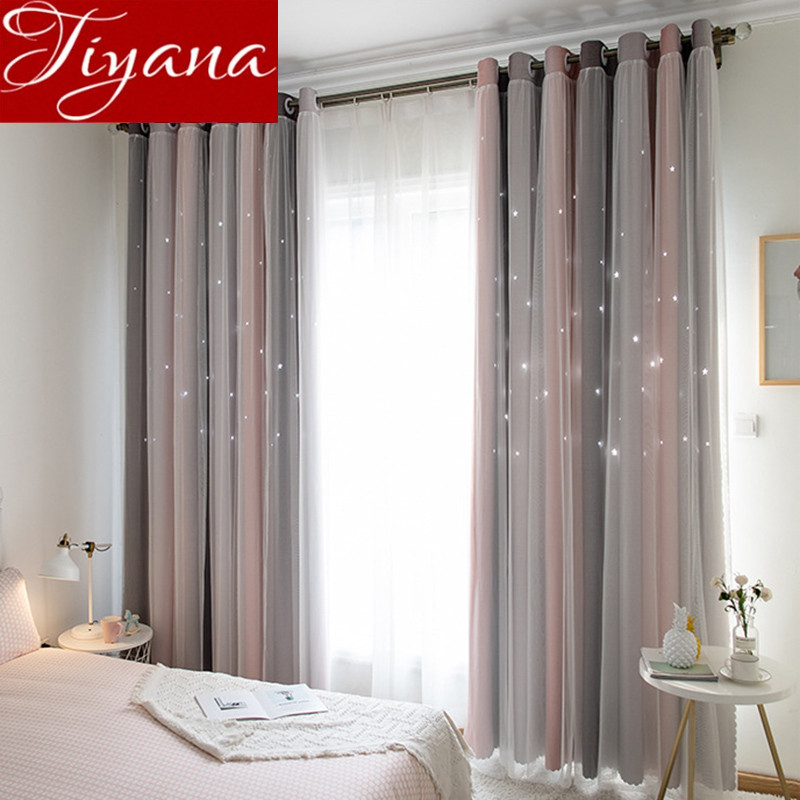 Lace Curtain Double Layer Colorful Hollow Stars For Baby Kids Room Blackout Drape Tulle Curtain Custom Made M080#30