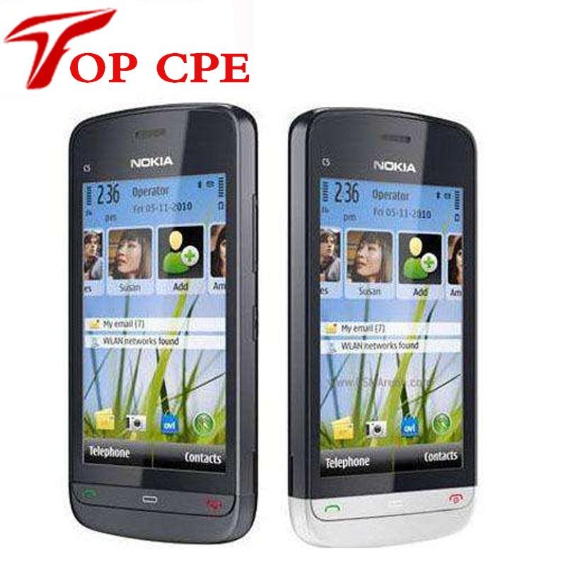 Refurbished C5 03 Original Nokia C5 03 WIFI GPS 5MP 3G Bluetooth Unlock cellphoneOne Year Warranty