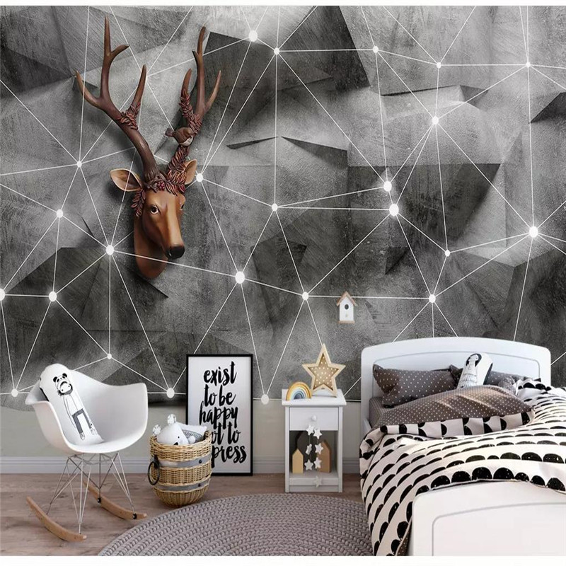 Custom wallpaper Nordic 3d solid geometry triangle elk line TV background wall painting advanced waterproof material in Wallpapers from Home Improvement