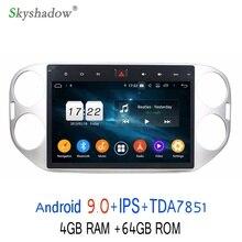 """TDA7851 10,"""" HD 1080P Android 9,0 для VW Tiguan 2013 64 Гб rom автомобильный dvd-плеер gps naviga карта RDS радио wifi Bluetooth"""