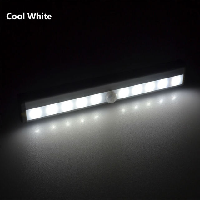 10 LED Wireless PIR Auto Motion with Light Sensor Intelligent Portable infrared Induction Lamp Night Lights for Cabinet Closet