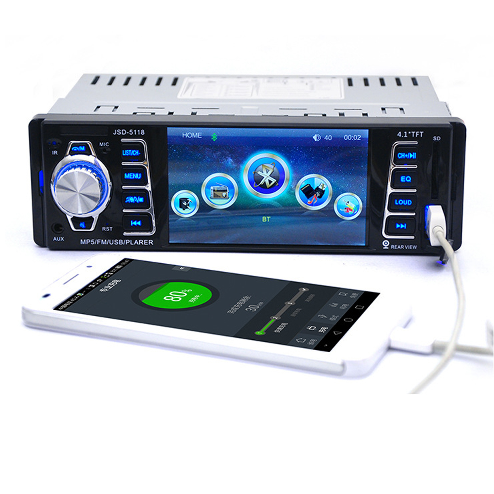 JSD-5118 4.1'' 12V Bluetooth Car Stereo FM car Radio MP3/MP4/MP5 Radio Bluetooth 2.0 Hands Free Call Microphone Multimedia Video rs 1010bt car bluetooth hands free stereo mp3 player