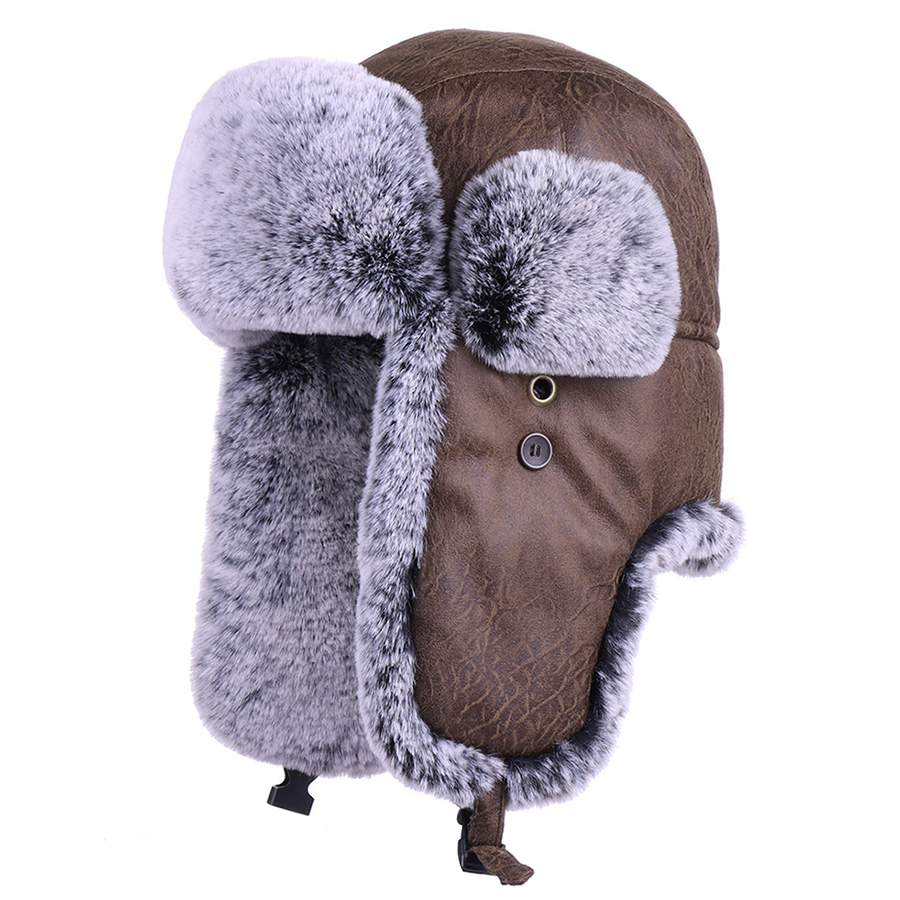 Winter Trooper Ushanka Faux Fur Earflap Russian Aviator Snow Hat Men and Women Hunting Skiing Cap PU Leather Bomber Trapper Hats(China)