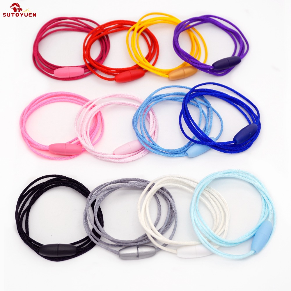 Sutoyuen 500pcs 2mm Satin Cord with Safety Plastic Breakaway Clasps for DIY Silicone Baby Teething Pendant