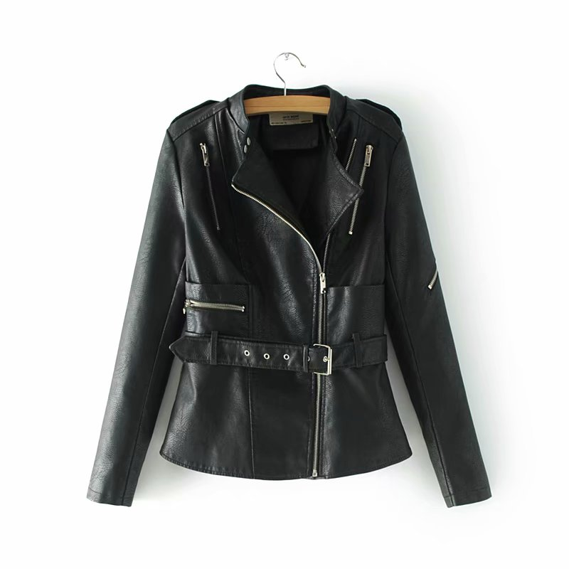 New Arrival Adjustable Waist Faux   Leather   Jackets Black Women Outwear Coats Autumn Winter Clothes for Ladies HIgh Street