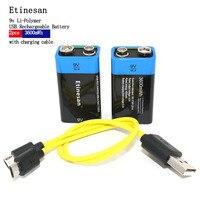 Etinesan 2 шт./лот новый продукт usb 9 В литиевая аккумуляторная батарея 400 мАч долгий срок принести USB зарядки заменить 6F22 /6lr61