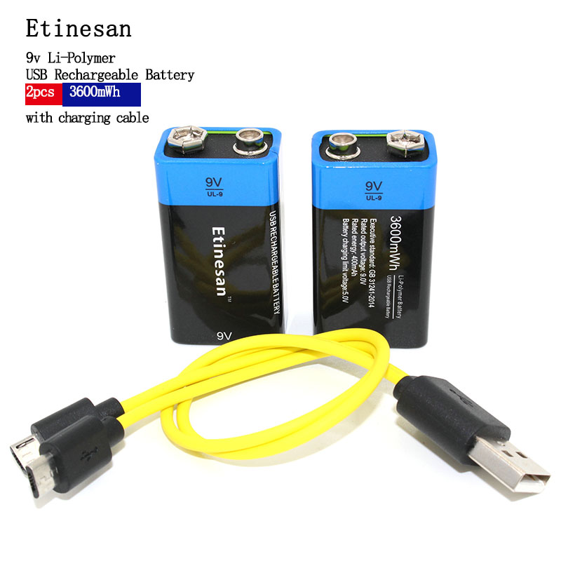 NEW Battery Etiesan 2pcs Lot 9V 3600MWH Lithium Li Ion Li Poltmer Rechargeable Batter With USB