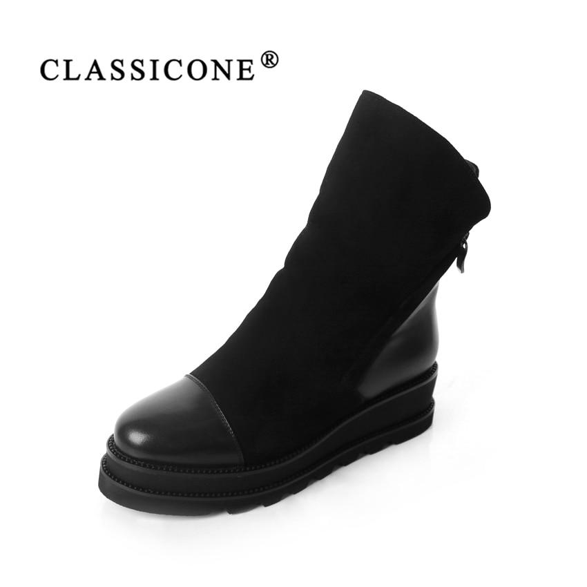 CLASSICONE2018 женская обувь зимняя шерсть Зимние ботильоны натуральная кожа замша внутри теплый модный бренд без каблуков скользкой стиль