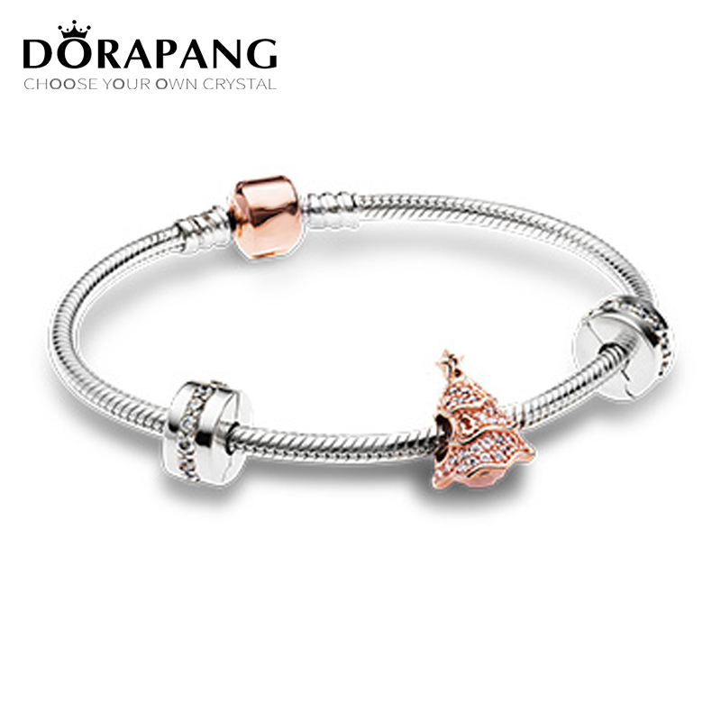 DORAPANG Newest Original 925 Sterling Silver Twinkling Christmas Tree Charm Fit Bracelets Rose & Clear CZ Women Gift DIY Jewelry tongzhe endless mens bracelets 2018 sterling silver 925 cz rose gold charm infinity tennis bracelets for women jewelry pulsera