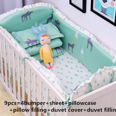 6/9pcs Baby Crib Bedding Sets Protetor De Berco For Children 100%cotton Reactive Cot Bedding Set Blanket,120*60/120*70cm