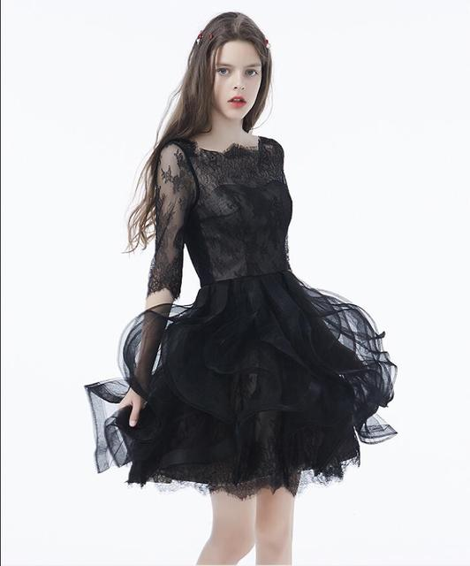 2017 schwarze Gothic Kurze Brautkleider Mit 3/4 Sleeves boot ...