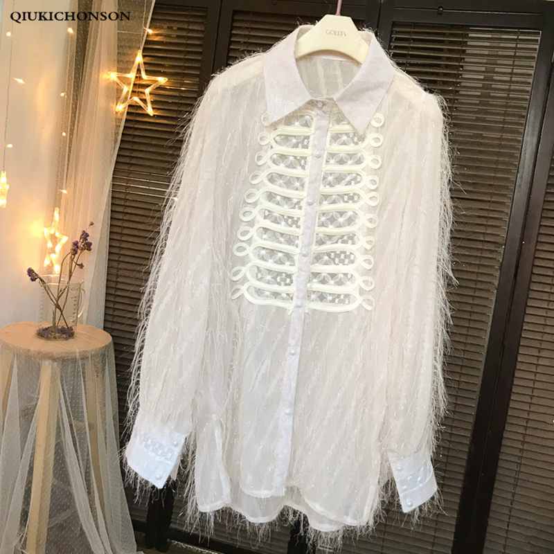 Ladies Blouses Tops Vintage Palace Style Elegant Embroidery Lace Patchwork Tassel Fringe Long Sleeve Blouse Womens Shirts